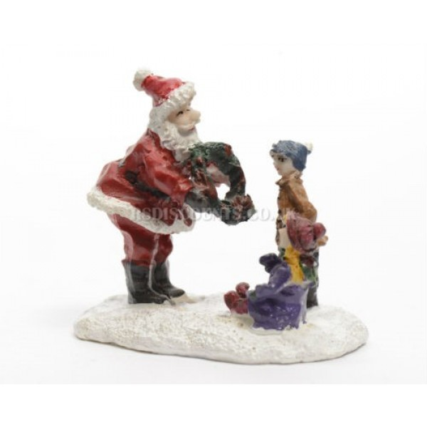 Lumineo Miniature Santa and Child Figure