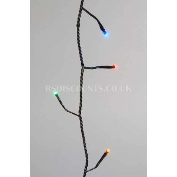 Lumineo Multi Coloured 80 LED Twinkle Lights 6m Green Cable Indoor or Outdoor Use