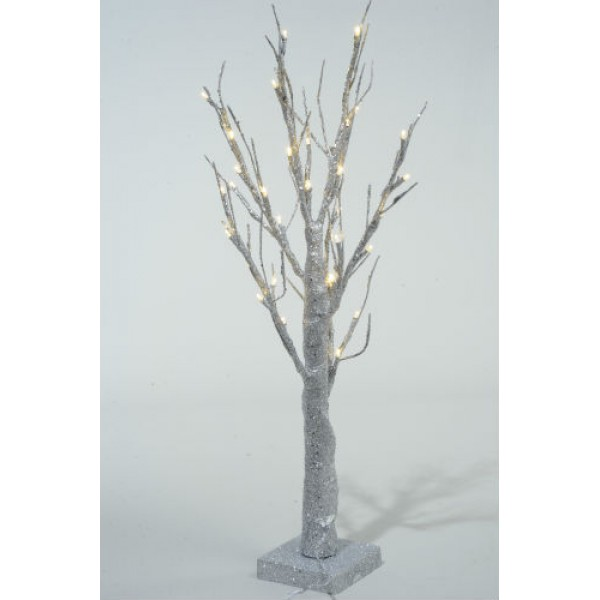 Lumineo 60cm LED Pre lit Silver Glitter Paper Christmas Tree