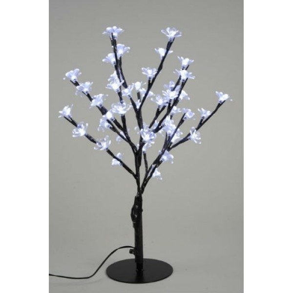 Lumineo 45cm Cool White LED Prelit Outdoor Blossom Christmas Tree