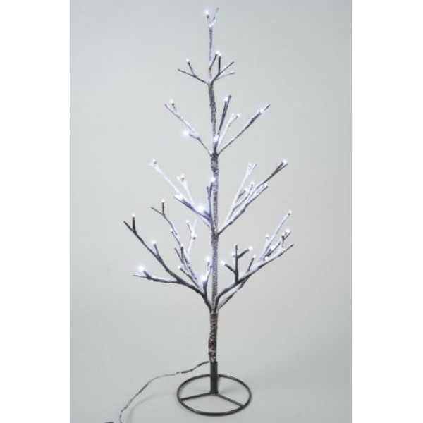 Lumineo 60cm Cool White LED Pre Lit Outdoor Snowy Christmas Tree