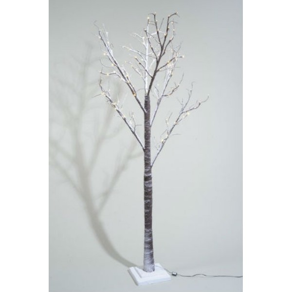 Lumineo 125cm Warm White LED Pre Lit Snowy Paper Christmas Tree Suitable For Outdoor Use
