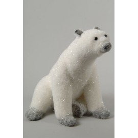 Deco 26cm Sitting Flocked Polar Bear