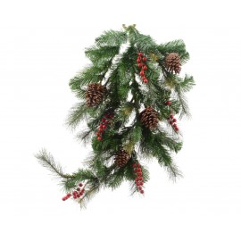 Lumineo Teardrop Garland with Winter Berries and Pinecones