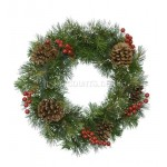 Lumineo Snowy Winter Berry and Pincone Wreath