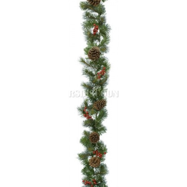 Lumineo Snowy Winter Berry and Pincone Garland