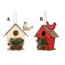 Premier 16.5cm Wooden Bird House in Red or White