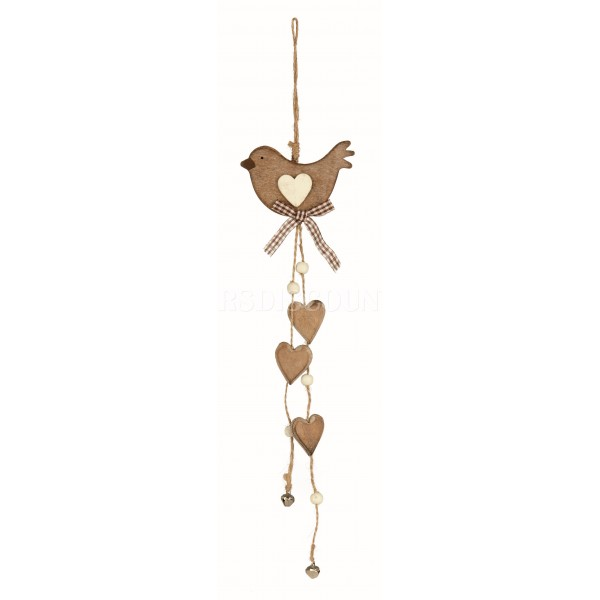 Premier Wooden Bird And Hearts Hanging Decoration