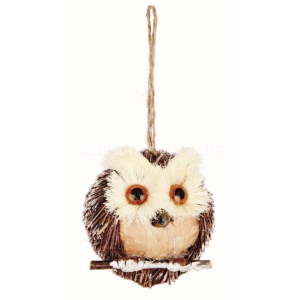 Premier  7.5cm Hanging Brown Rustic Straw Owl