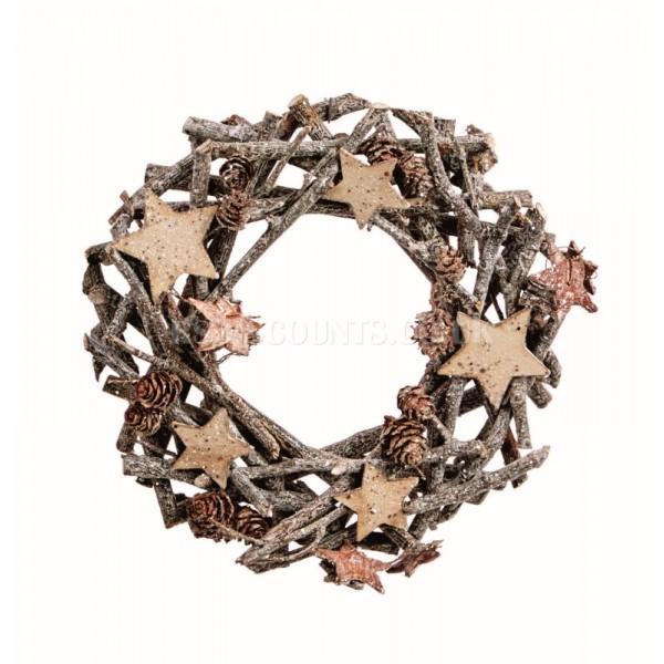 Premier 22cm Sparkle Twig Wreath with Cones