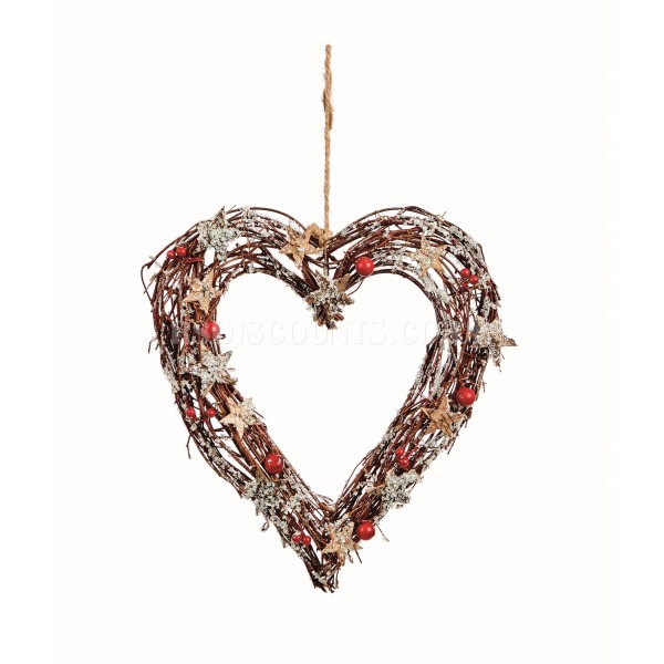 Premier 31cm Rattan Heart Wreath with Berries and Stars