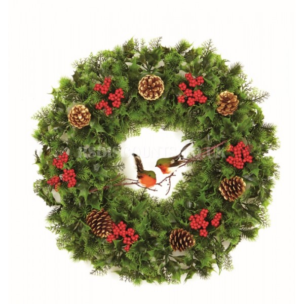 Premier 60cm Plastic Decorated Wreath With Winter Robins