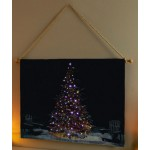 Premier LED Hanging Tapestry with Christmas Tree Scene