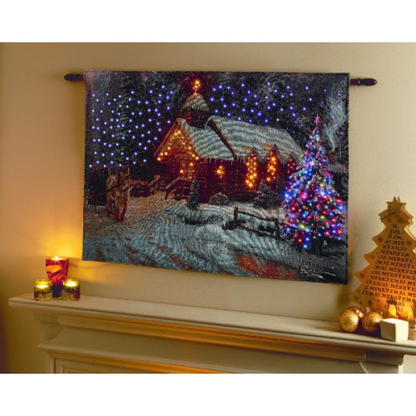 Premier Church with horse and sleigh snow scene LED tapestry