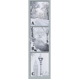 Premier LED Black and White Snow Scene Canvas Timer 40 x 30cm