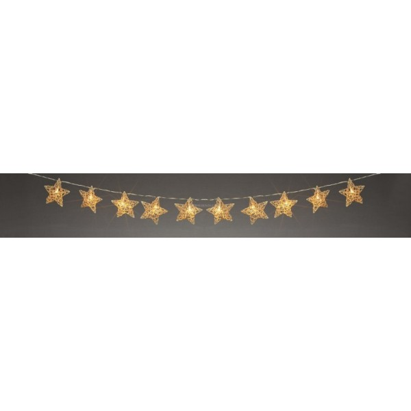 Premier 10 Warm White LED Rattan Star Light Garland