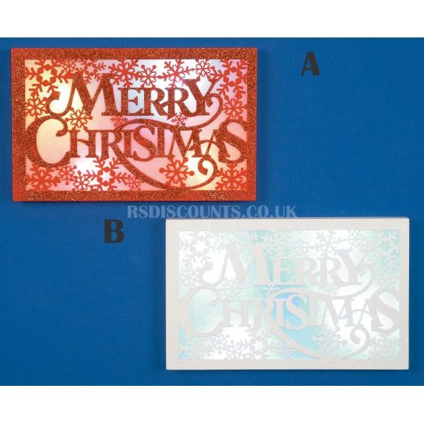 Premier 27cm Wooden Merry Xmas Colour Changing LED Plaque