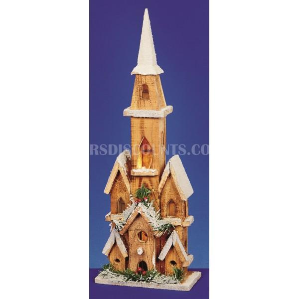Premier Wooden Illuminated Church 50cm Warm White