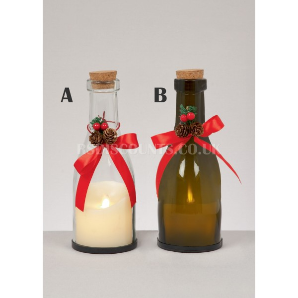 Premier 27cm Christmas Bottle with LED Candle
