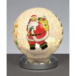 Premier White Glass Santa Ball Light Warm White LED 10cm
