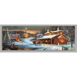 Premier LED Winter Barn Scene Canvas 75cm x 25cm