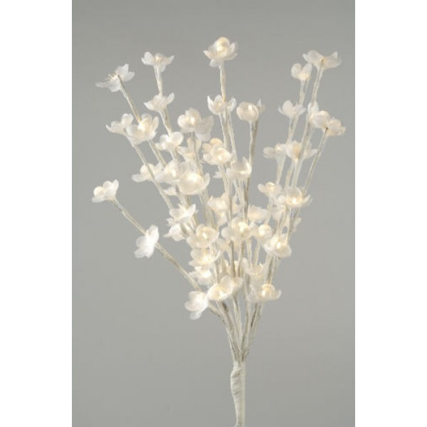 Lumineo Warm White 60 LED White Petal 50cm Flower Lights