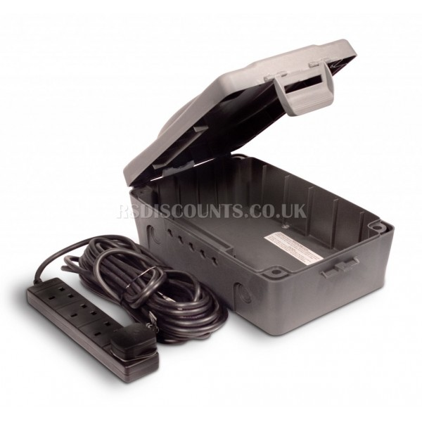 Masterplug IP54 Outdoor Power Weatherproof Box with 4 Socket 10m Extension Lead