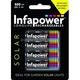 Infapower AA 600mAh Longlife Rechargeable Batteries  4 Pack