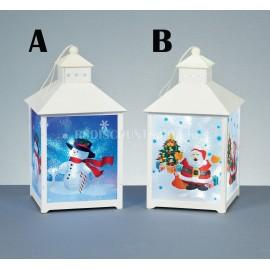 Premier 30cm Hanging White LED Lantern With Themed Panels