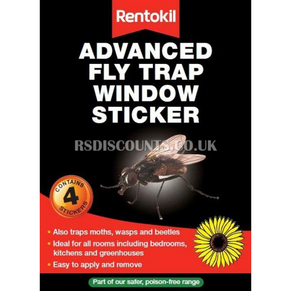 FW100 Rentokil FLY Trap Window Sticker Pk4