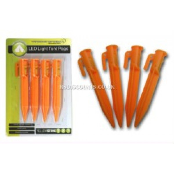 CA009 - Yellowstone LED Light Plastic Tent Pegs Caravan Awning Pegs Pack of 4