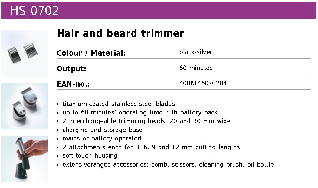 severin hs0702 hair beard trimmer black silver. Black Bedroom Furniture Sets. Home Design Ideas
